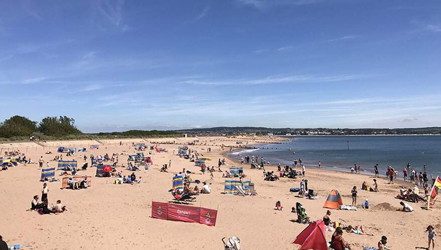 Sandy beaches at Cofton Country Holidays